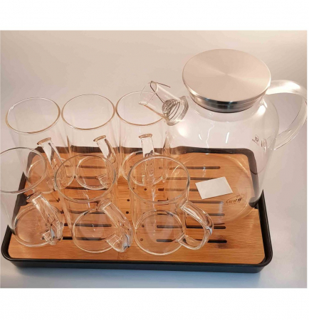 Set Ceainic - Carafa 1.8L si 6 Cani din Sticla Borosilicata, cu Tava din Bambus6
