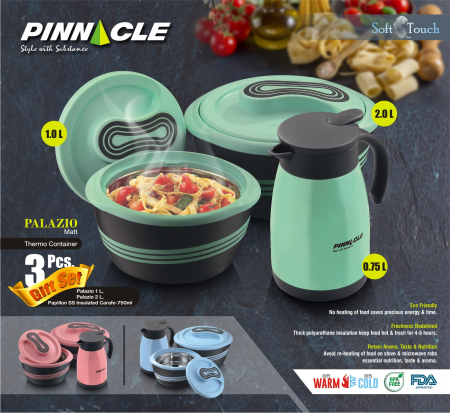Set 3 piese Caserole Termice, Pinnacle Palazio, 2000 +1000 + 750 ML, Roz1
