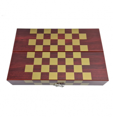 Set din Lemn cutie pentru Vin si set pentru Sah, 36x12x12 CM2