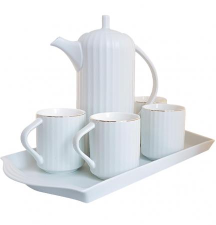Serviciu din Portelan pentru Ceai si Cafea, Tava, Carafa si 4 Cani, Bleu0