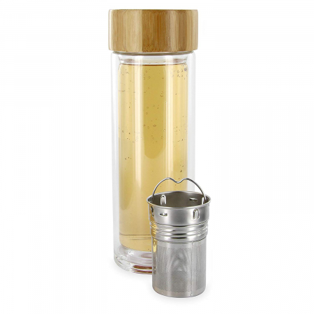 Sticla cu infuzor, din sticla cu perete dublu si capac din Bambus1