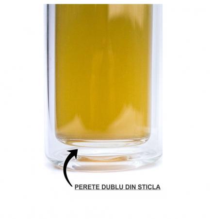 Sticla cu infuzor, din sticla cu perete dublu si capac din Bambus [3]