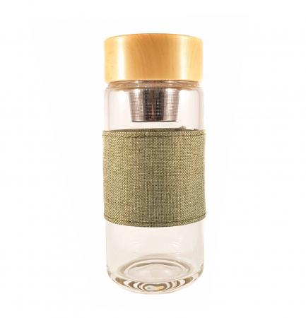 Sticla cu infuzor pentru ceai si protectie, Verde, 400 ml2