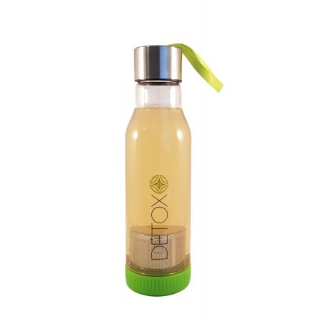 Sticla Detox 500 ml, cu infuzor metalic pentru ceai, Verde0