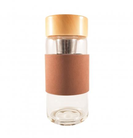 Sticla cu protectie si infuzor metalic pentru ceai, Maron0