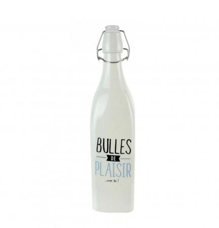 Sticla din sticla cu dop inchidere ermetica, Alb, 1 litru0