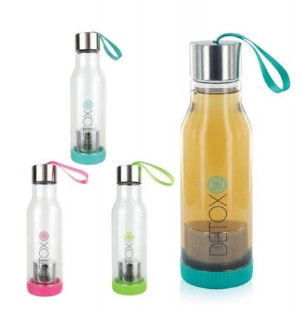Sticla Detox 500 ml, cu infuzor metalic pentru ceai, Albastru, 500 ml0