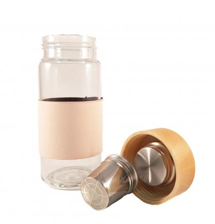 Sticla cu protectie si infuzor metalic pentru ceai, Roz