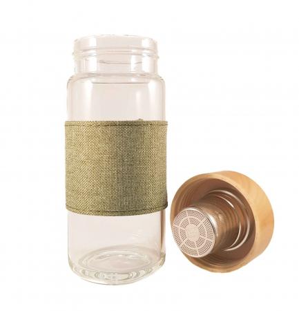 Sticla cu infuzor pentru ceai si protectie, Verde, 400 ml
