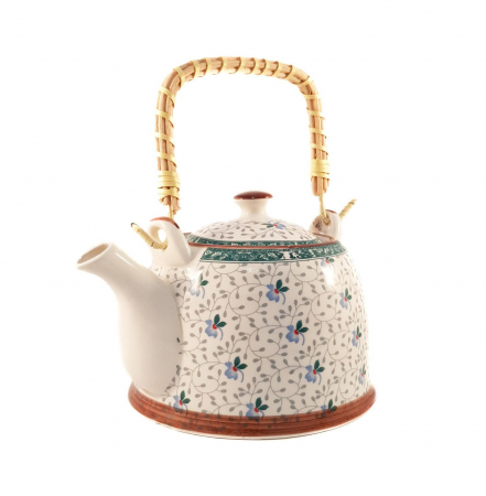 Ceainic Ceramic cu infuzor, maner Bambus, 800 ml, Verde0
