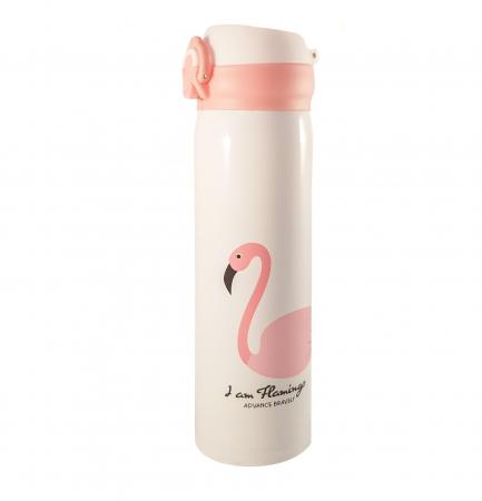 Termos Flamingo, otel inoxidabil cu perete dublu, 400 ml