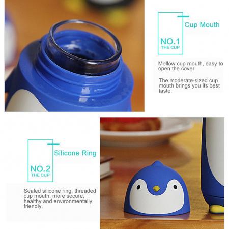 Termos PINGUIN din sticla cu protectie din silicon, 300 ml [6]