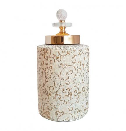 Vas decorativ cu capac ORIENTAL, Ceramica, 26 CM0