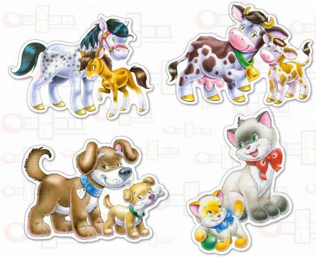 Set 4 puzzle-uri animale cu pui 0