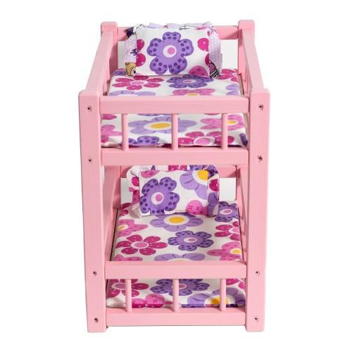 Patut din lemn roz cu etaj pentru papusi 1