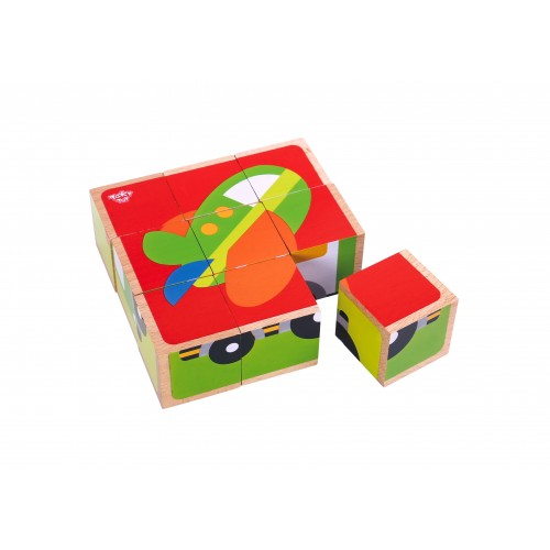 Puzzle vehicule cuburi colorate din lemn 0
