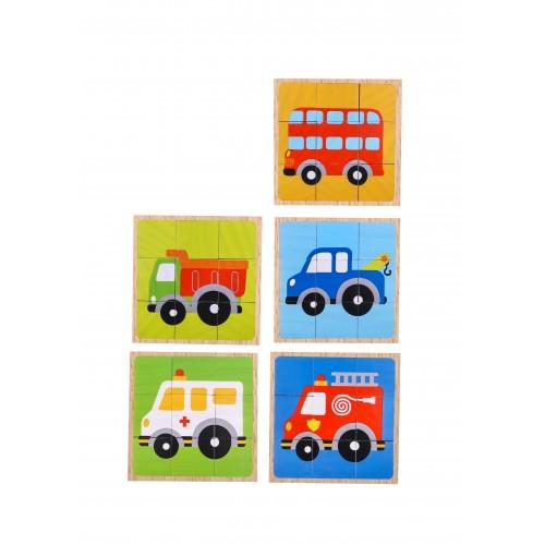 Puzzle vehicule cuburi colorate din lemn 1
