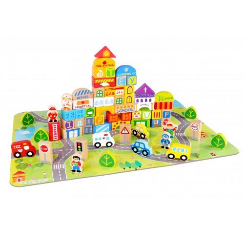 Oras de construit cu 100 de piese din lemn colorate [0]