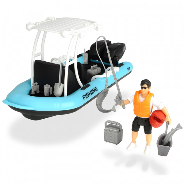 Barca de pescuit Dickie Toys Playlife cu figurina si accesorii 0