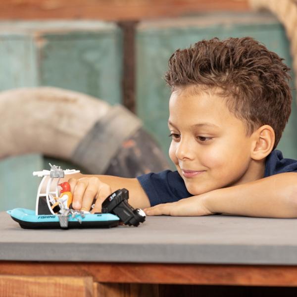 Barca de pescuit Dickie Toys Playlife cu figurina si accesorii 4