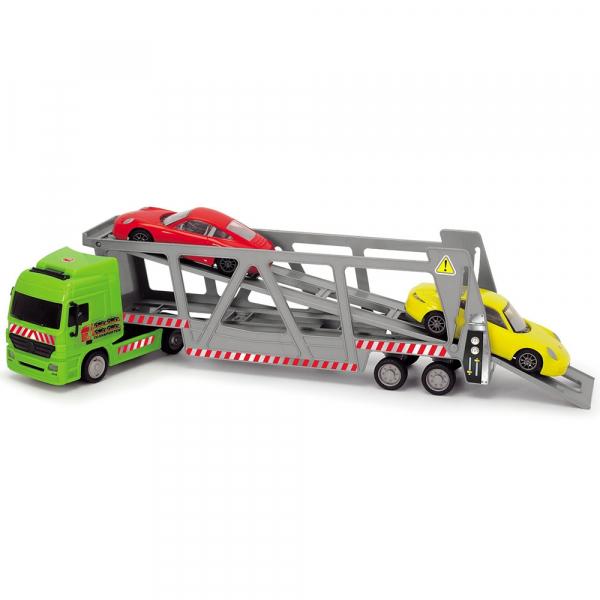 Camion Dickie Toys cu trailer si 2 masini Porsche 2
