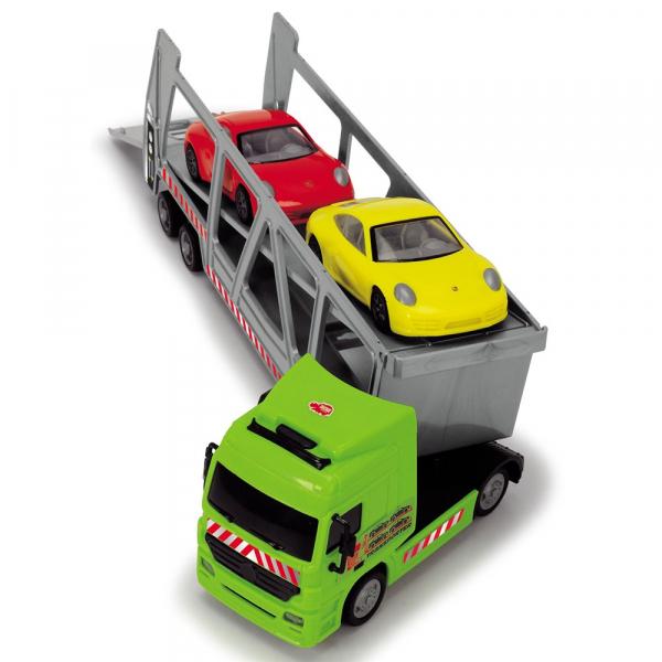 Camion Dickie Toys cu trailer si 2 masini Porsche 3