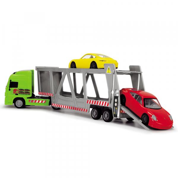 Camion Dickie Toys cu trailer si 2 masini Porsche 4