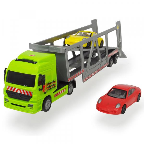 Camion Dickie Toys cu trailer si 2 masini Porsche 0