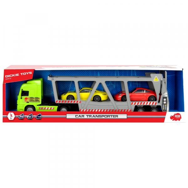 Camion Dickie Toys cu trailer si 2 masini Porsche 5