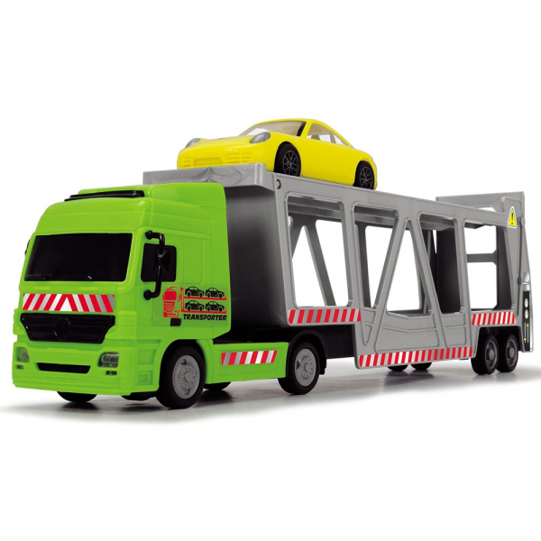 Camion Dickie Toys cu trailer si 2 masini Porsche 1