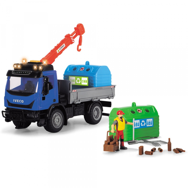 Camion Dickie Toys Playlife Iveco Recycling Container Set cu figurina si accesorii [2]