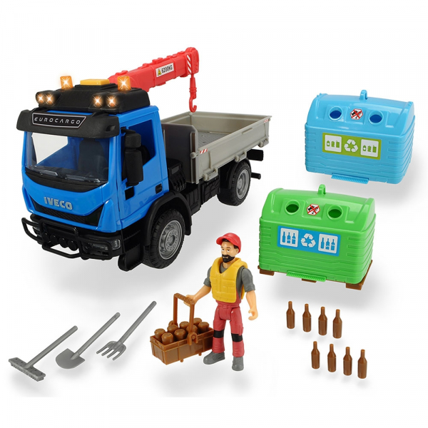 Camion Dickie Toys Playlife Iveco Recycling Container Set cu figurina si accesorii [0]