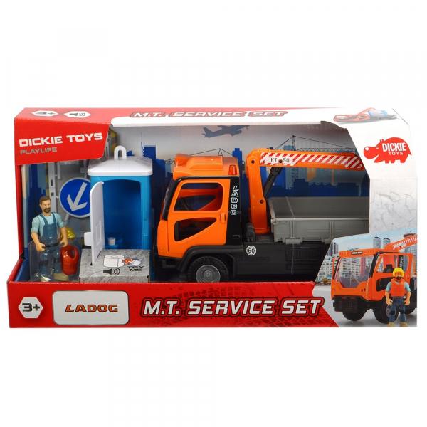 Camion Dickie Toys Playlife M.T. Ladog Service Set cu figurina si accesorii 6
