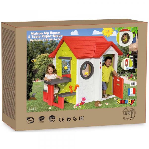 Casuta pentru copii Smoby My House cu masuta picnic 5