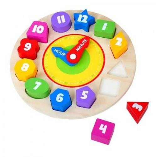 Ceas cifre colorate si puzzle lemn 0