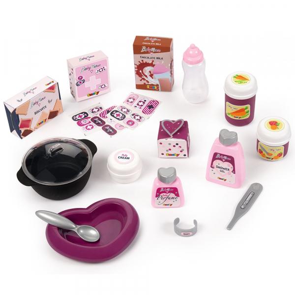 Centru de ingrijire pentru papusi Smoby Baby Nurse Doll`s Play Center mov cu 23 accesorii [1]