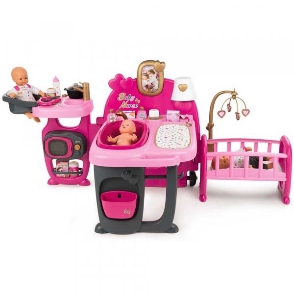 Centru de ingrijire pentru papusi Smoby Baby Nurse Doll`s Play Center roz cu 23 accesorii [0]