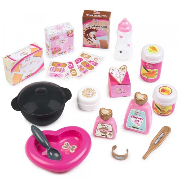 Centru de ingrijire pentru papusi Smoby Baby Nurse Doll`s Play Center roz cu 23 accesorii [2]