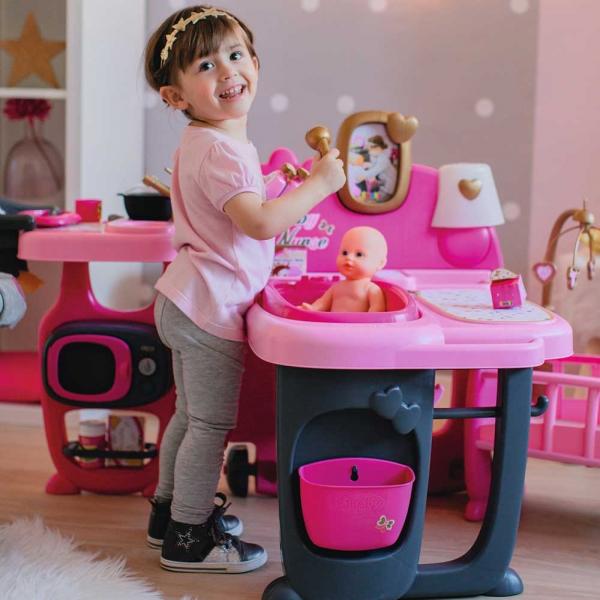 Centru de ingrijire pentru papusi Smoby Baby Nurse Doll`s Play Center roz cu 23 accesorii [6]