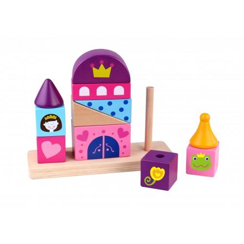 Castel colorat de stivuit din lemn 0