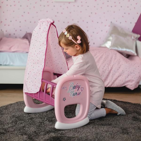 Leagan pentru papusa Smoby Baby Nurse roz mov cu baldachin 2