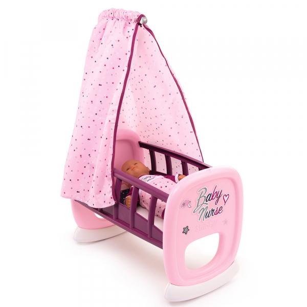 Leagan pentru papusa Smoby Baby Nurse roz mov cu baldachin 0