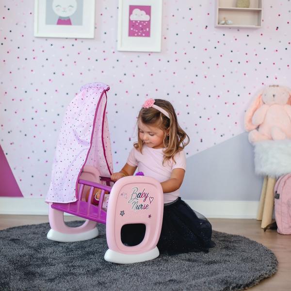 Leagan pentru papusa Smoby Baby Nurse roz mov cu baldachin 1