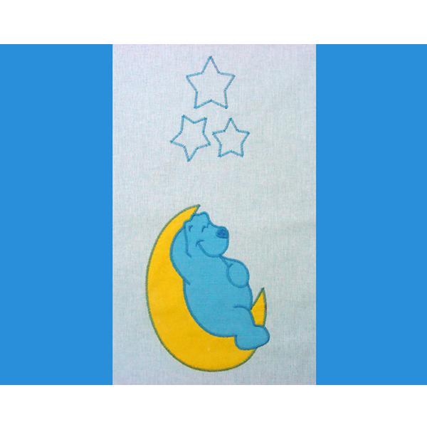 Lenjerie patut cu broderie Hubners Teddy Noapte Buna 4 piese albastru [1]