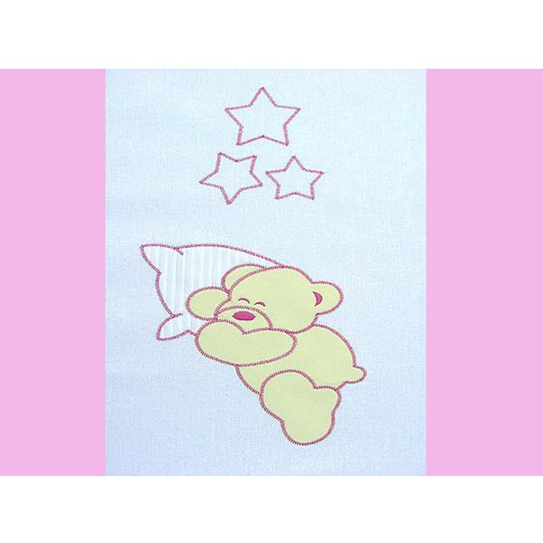 Lenjerie patut cu broderie Hubners Ursuletul Somnoros 4 piese roz [1]