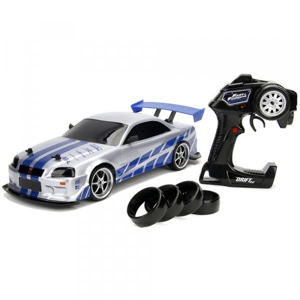 Masina Jada Toys Fast and Furious Nissan Skyline GTR Drift cu anvelope si telecomanda 0