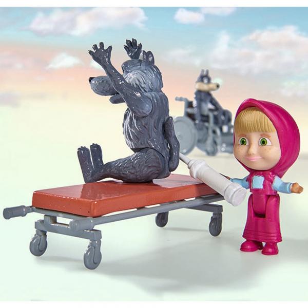 Masina Simba Masha and the Bear Ambulance cu accesorii 6