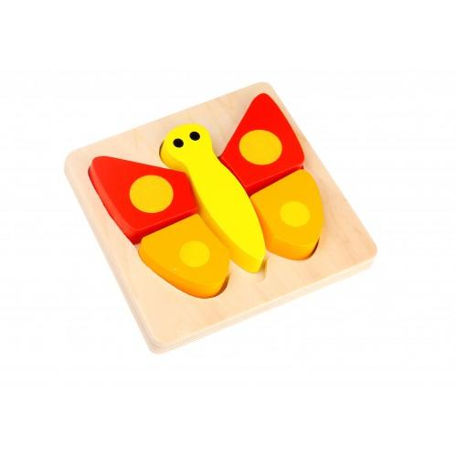 Mini Puzzle fluture colorat din lemn 0