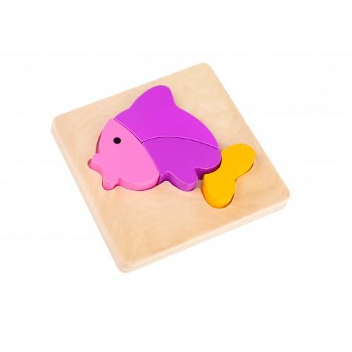 Mini Puzzle peste colorat din lemn 0