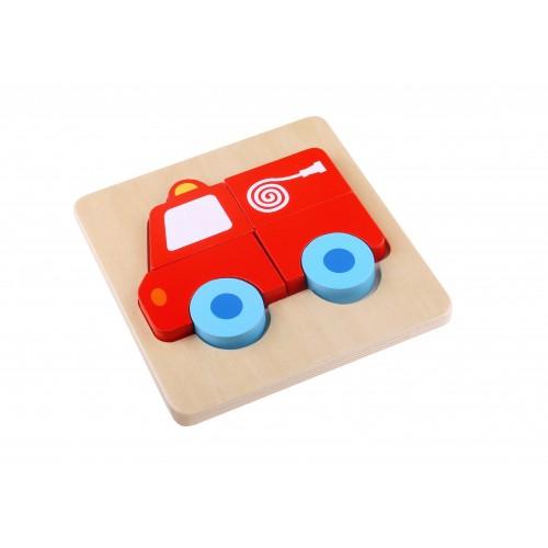 Mini Puzzle masina de pompieri colorata din lemn 0